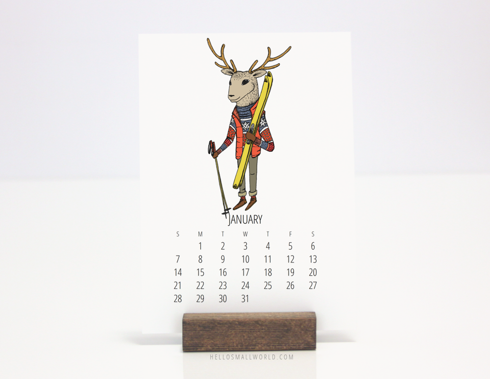 2018 desk calendar with wood stand