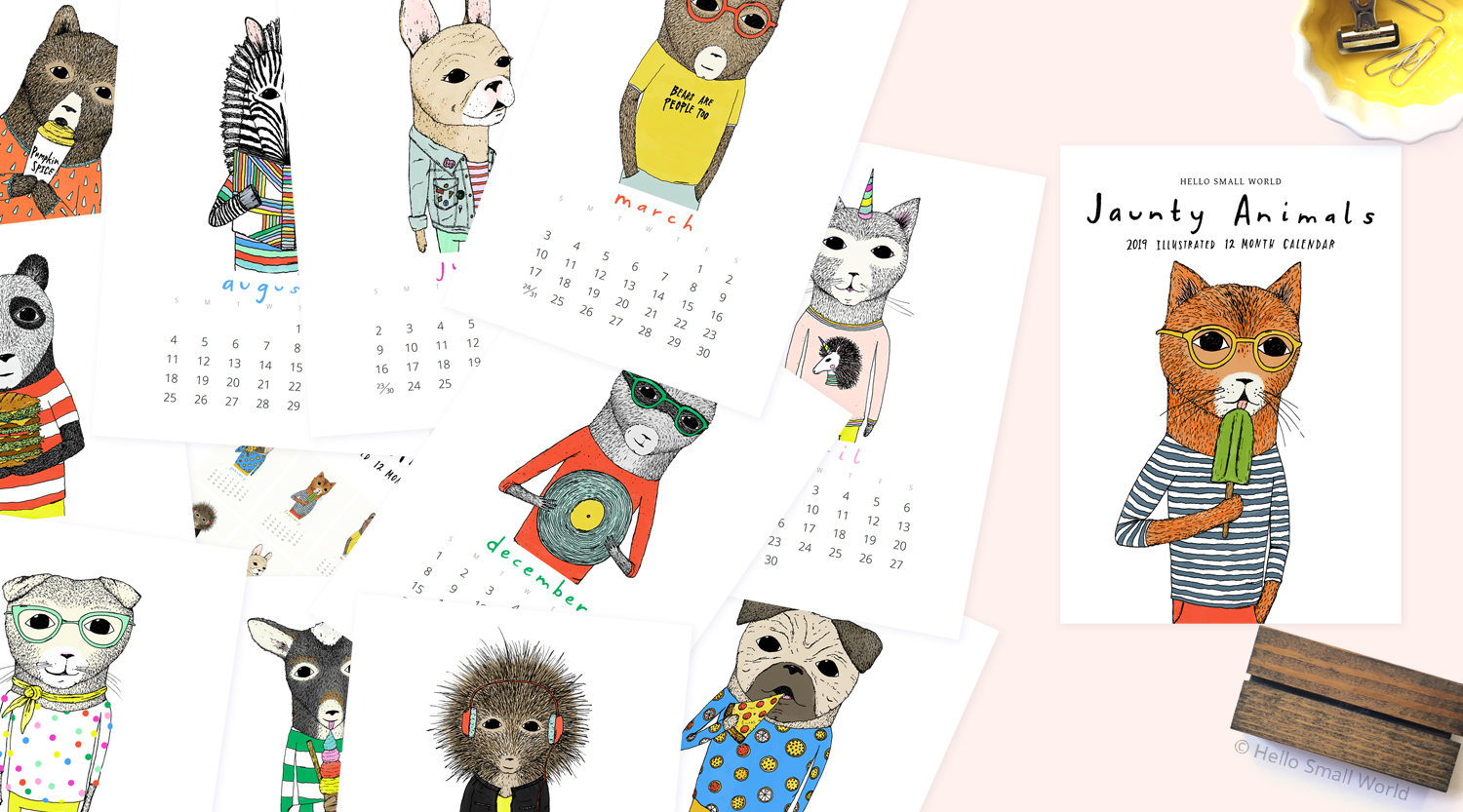 2019 calendar of jaunty animals, 2019 desk calendar, 2019 wall calendar, pizza pug, cool cat, reading zebra, ice cream eating pygmy goat