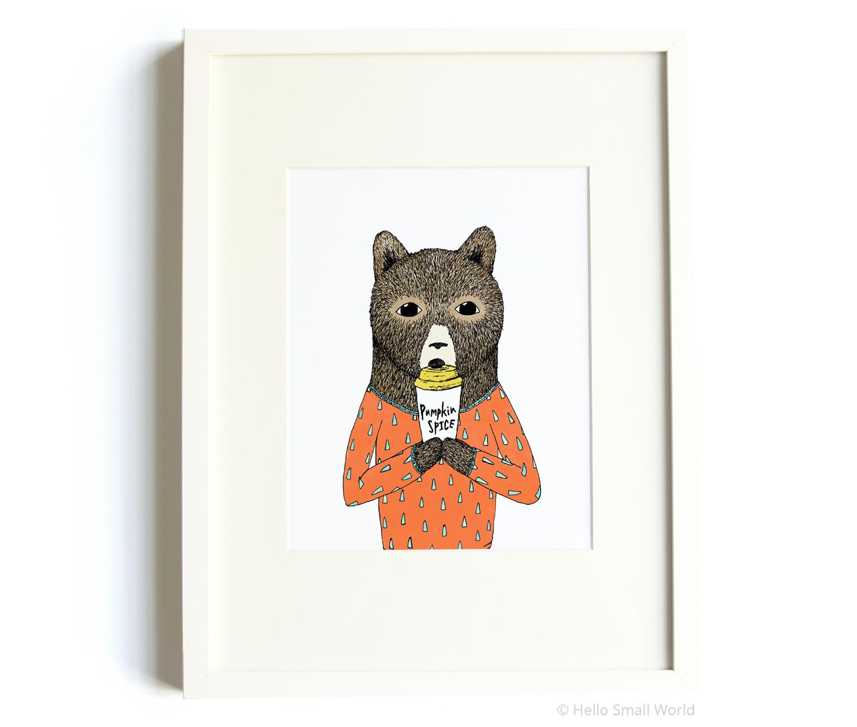 pumpkin spice bear 8x10 print