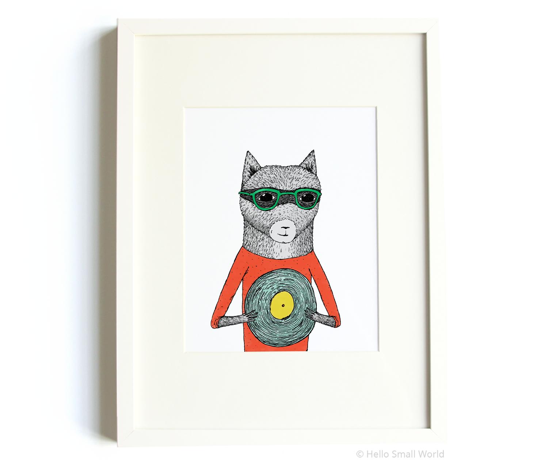 record raccoon 8x10 print