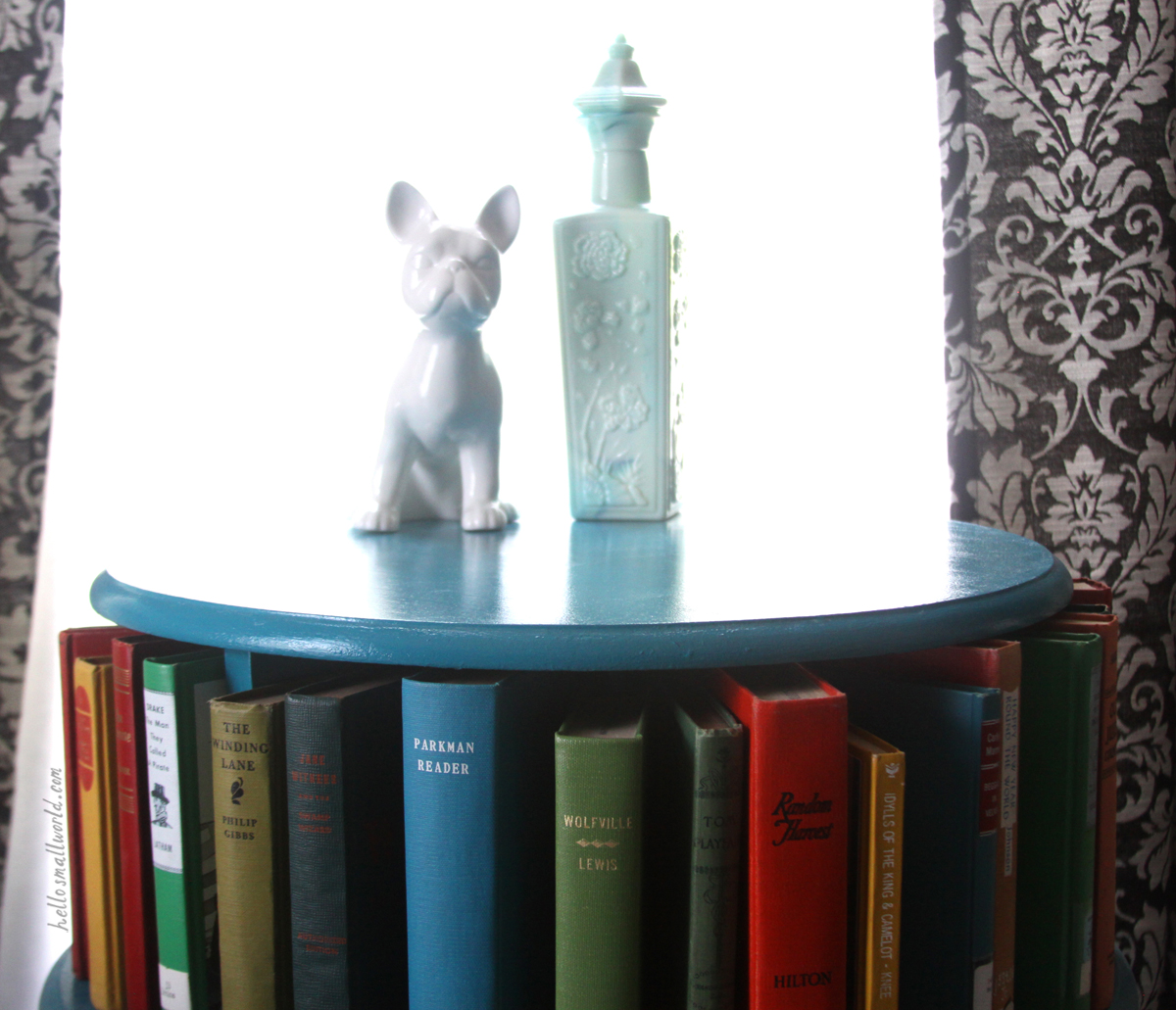 decor with primary colored books and a french bulldog
