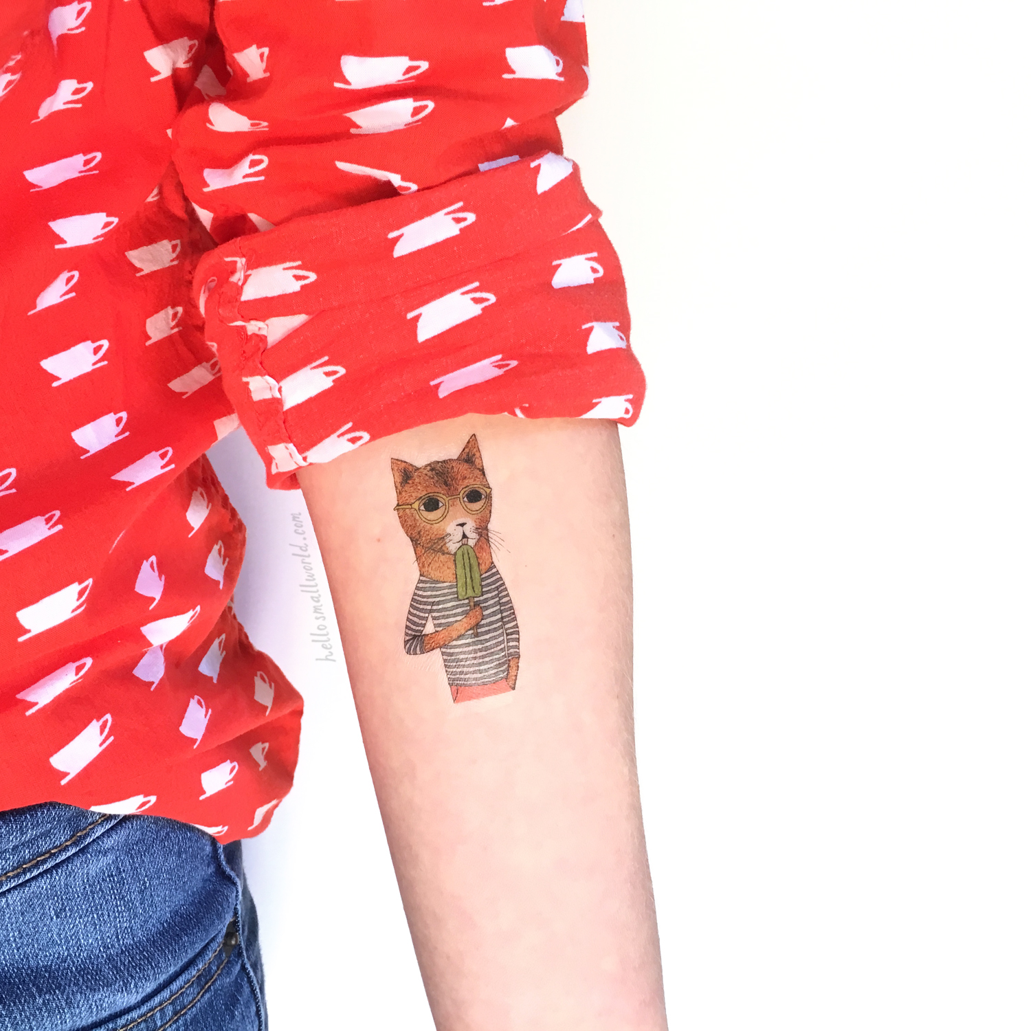 faux tattoo of cool cat illustration by hello small world