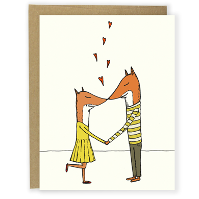 Kissing Foxes Card