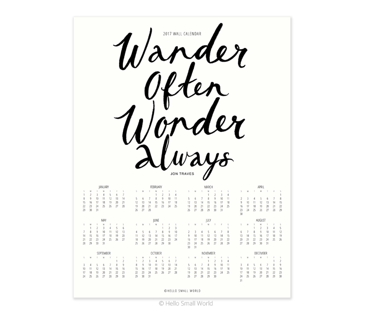 2017 wander often wonder always calendar