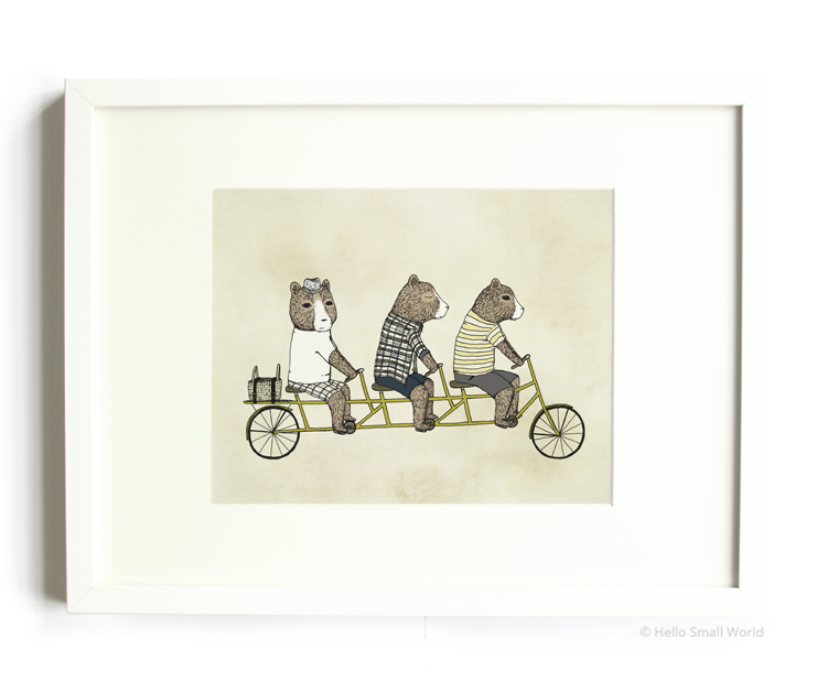3 bears on a bicycle 8x10 print