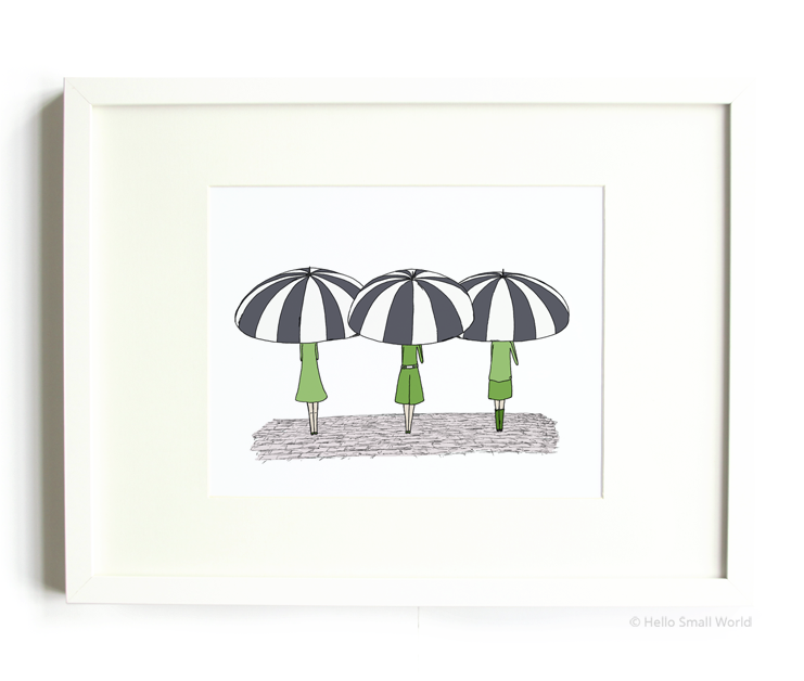3 umbrella girls 8x10 print
