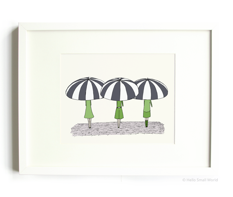 3 umbrella girls 8x10 print