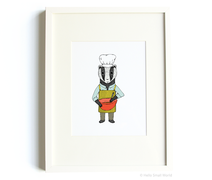 baking badger 8x10 print