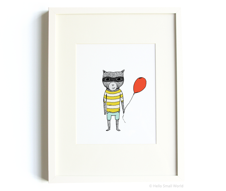 balloon raccoon 8x10 print