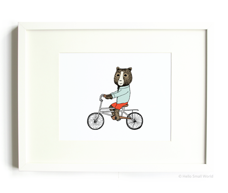bear on bicycle 8x10 print