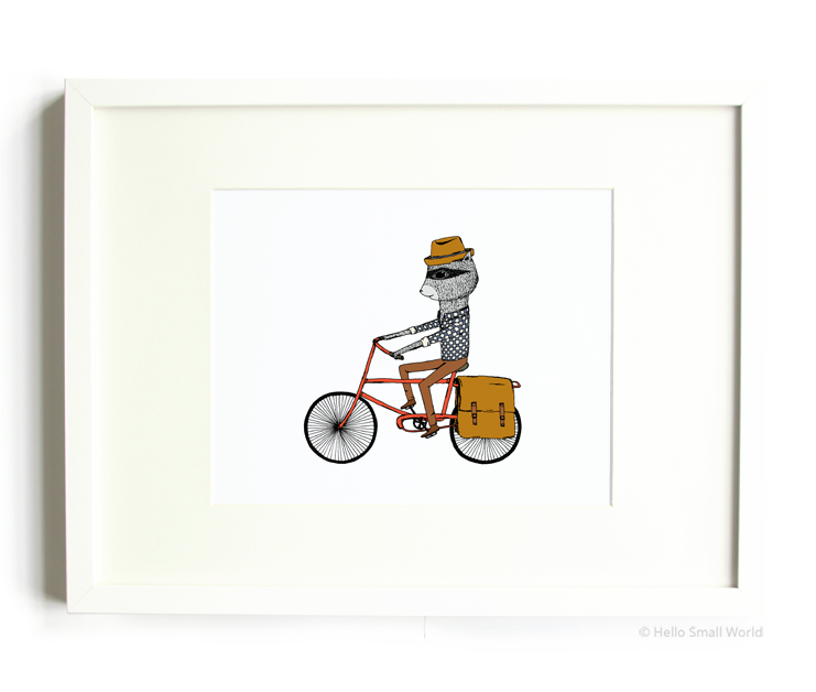 bicycle raccoon 8x10 print