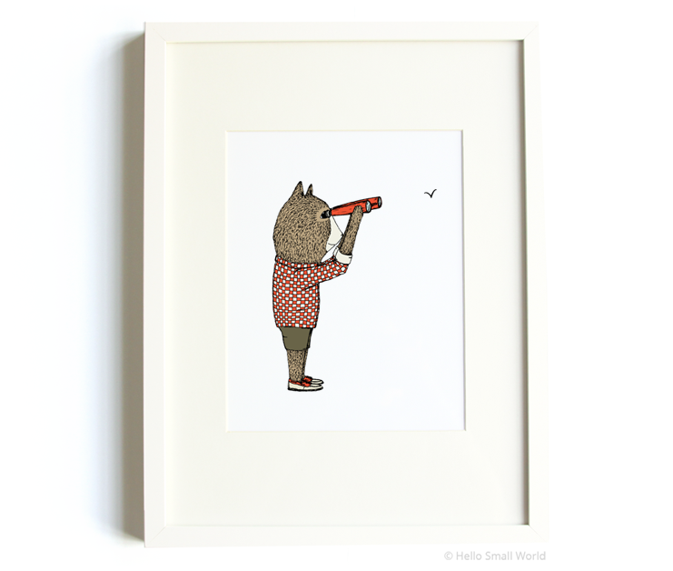 birdwatching bear 8x10 print