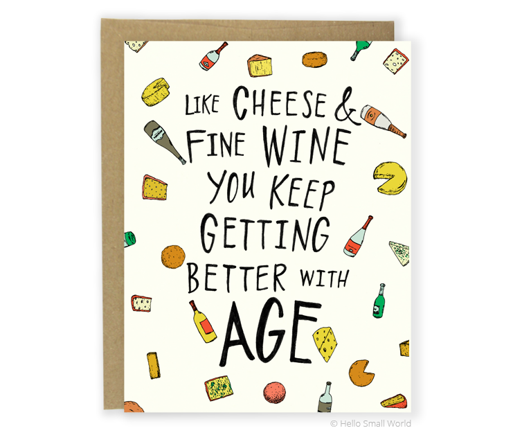 Cheese Wine Birthday Card Hello Small World