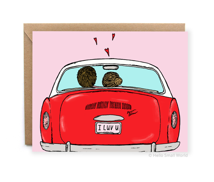 cute love anniversary card for couples boy girl in red vw karmann ghia convertible illustrated card