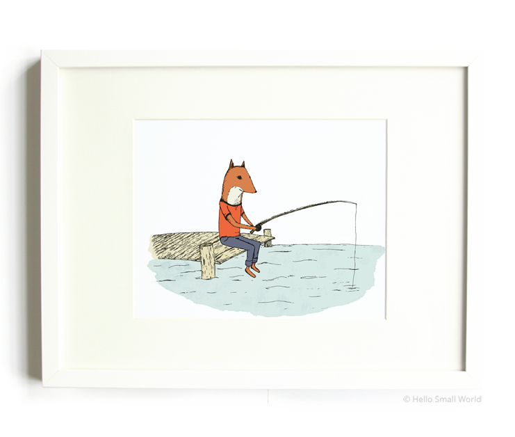 fishing fox 8x10 print