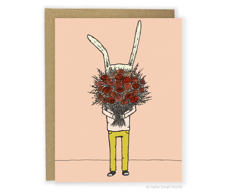 flower rabbit card