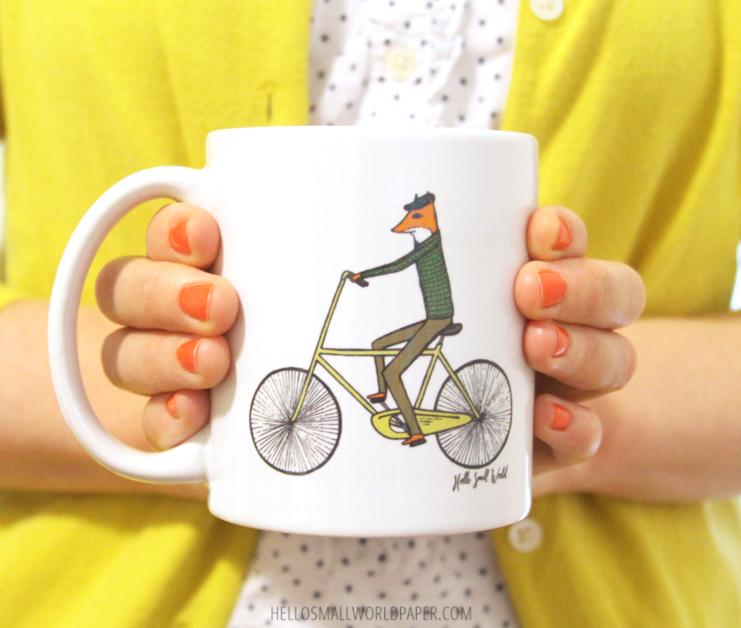 fox on bicycle mug