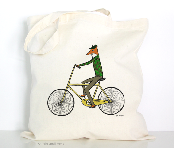 fox on bicycle tote