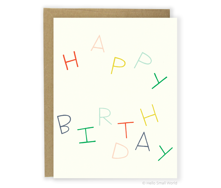 happy birthday multicolor card