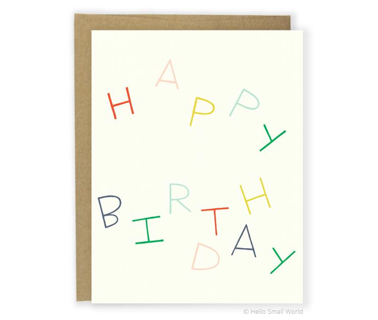 happy birthday multicolor card