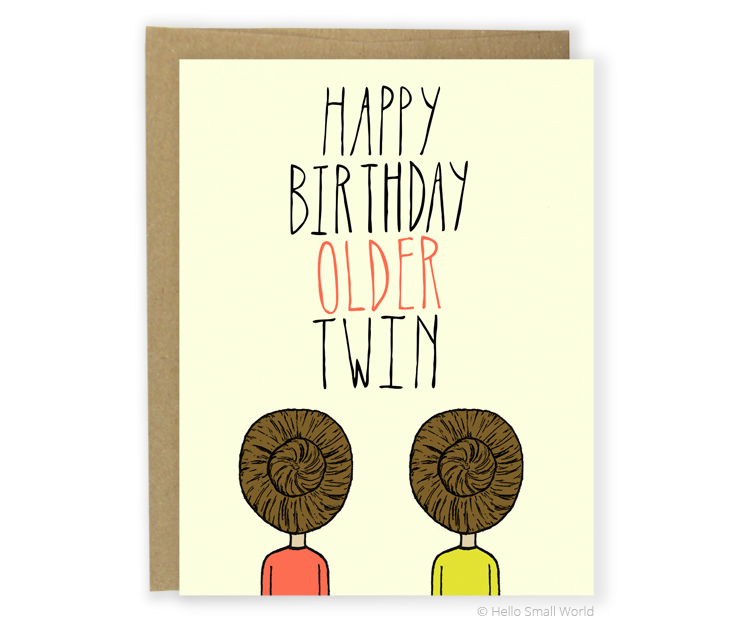 happy birthday older twin card