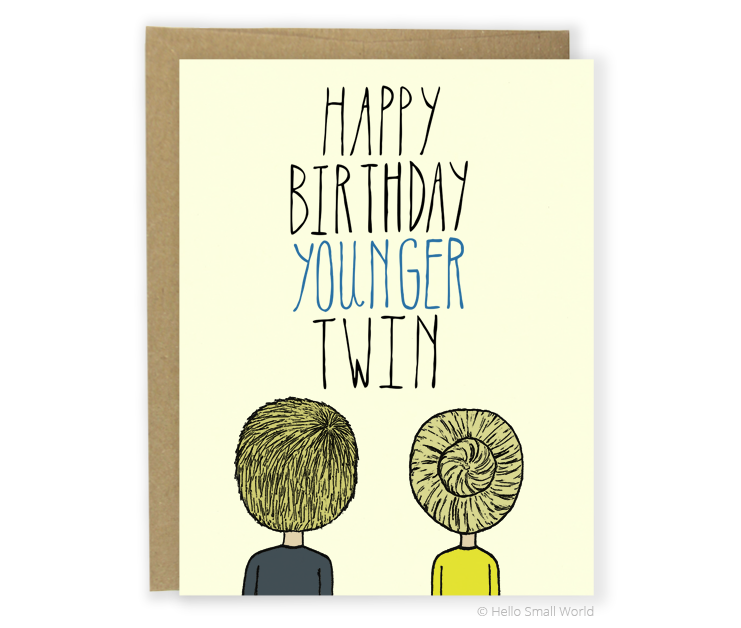 happy birthday younger twin card