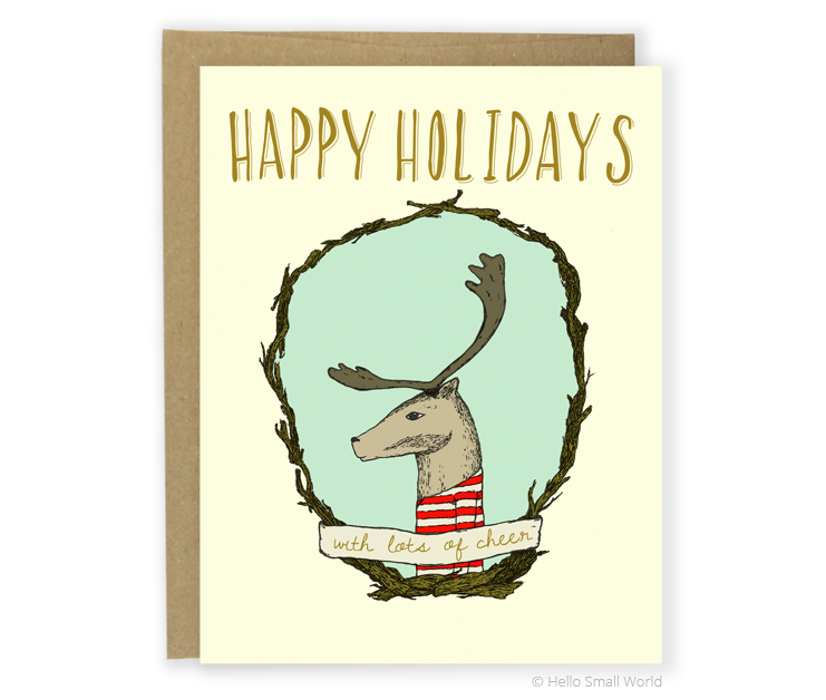 happy holidays reindeer card