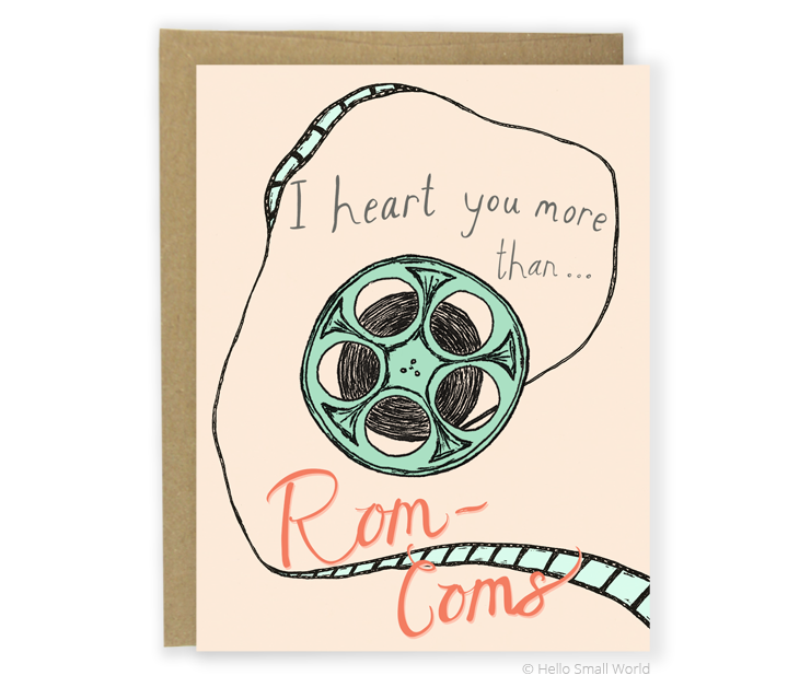 heart rom coms card