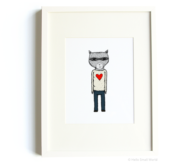 heart sweater raccoon 8x10 print