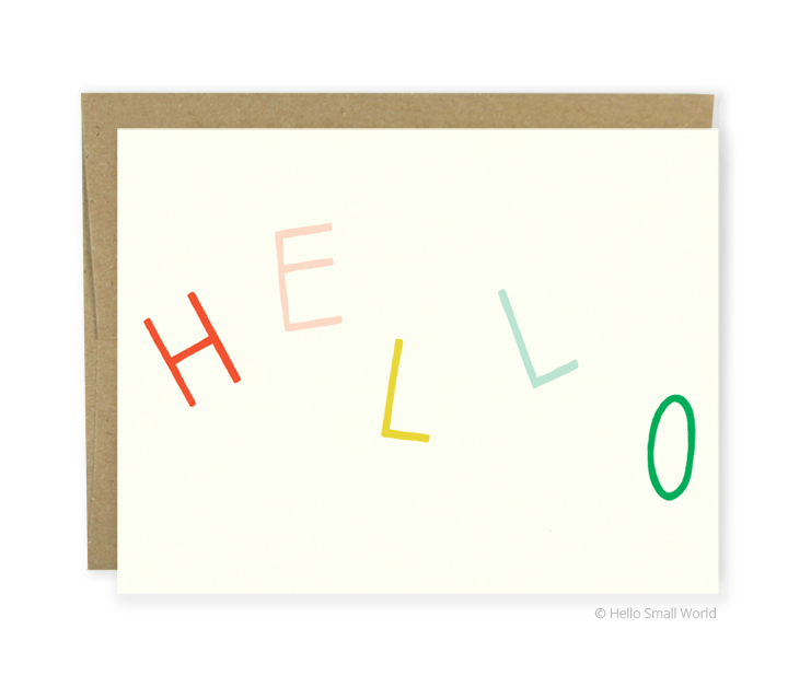 hello multicolor card
