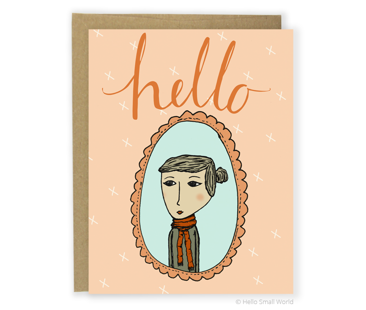hello scarf girl card