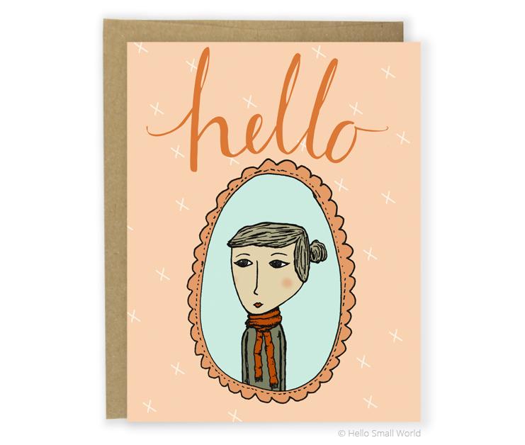 hello scarf girl card