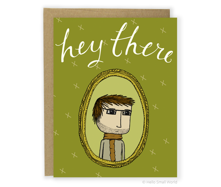hey there scarf boy card