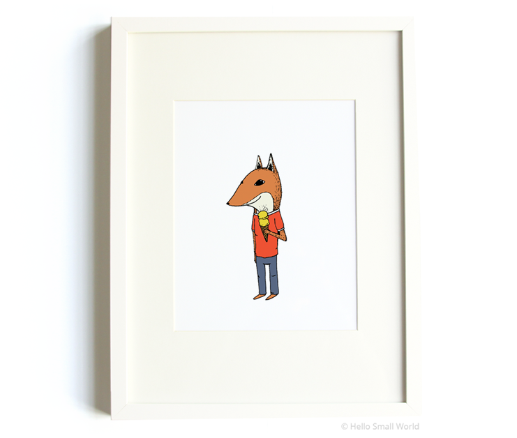 ice cream fox 8x10 print