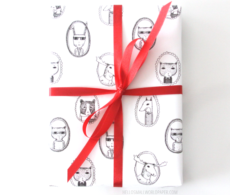 jaunty animals gift wrap