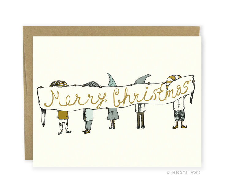 merry christmas elves card