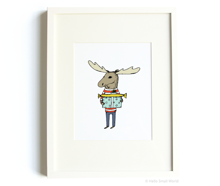 moose with presents 8x10 print