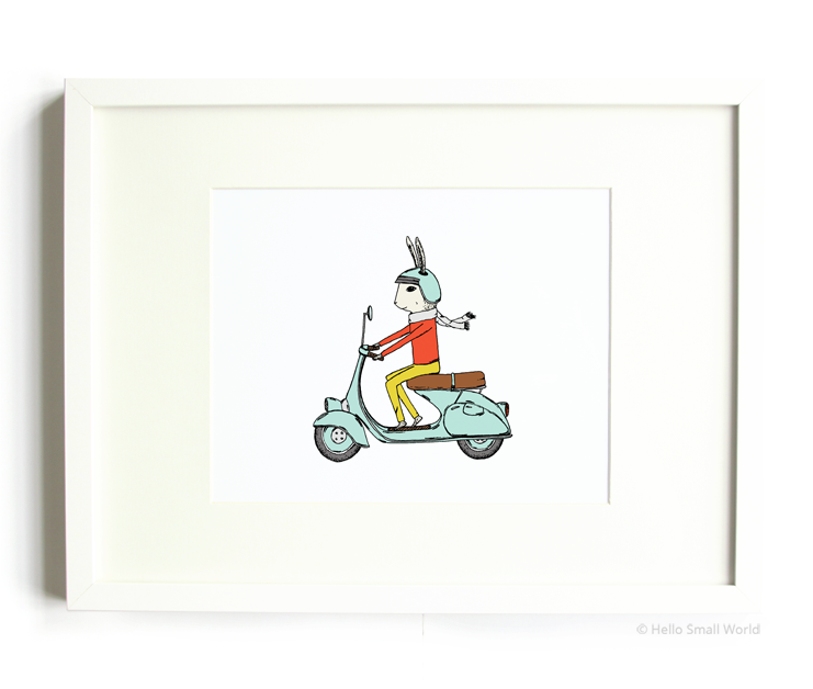 moped rabbit 8x10 print