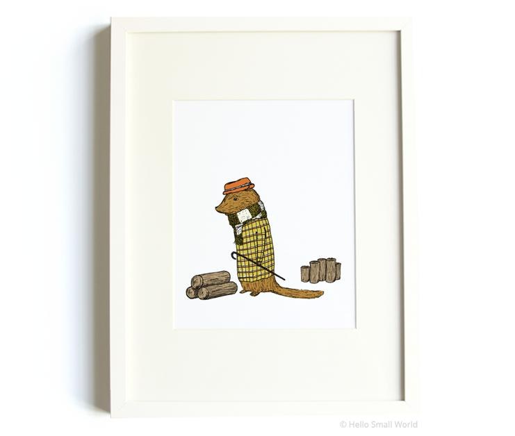 mr beaver 8x10 print