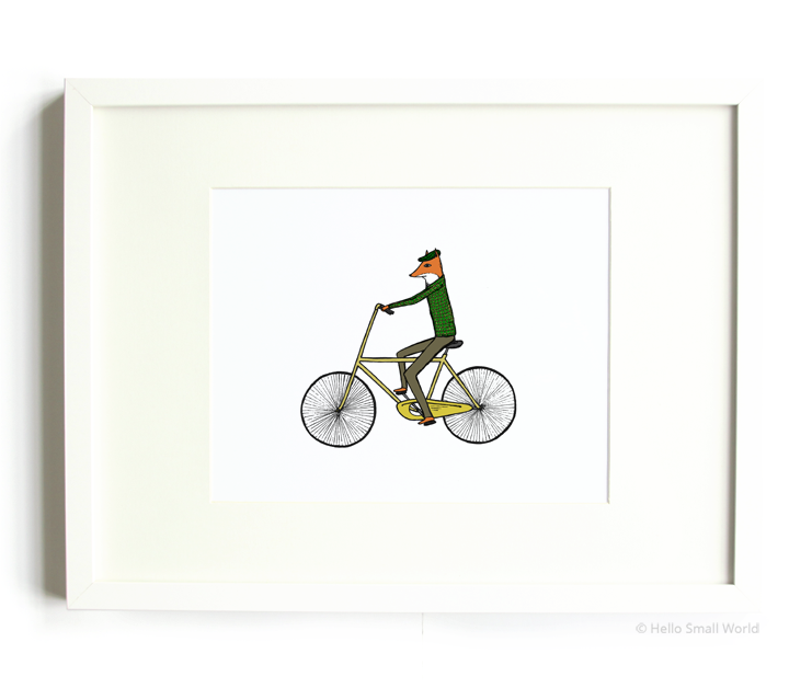 mr fox on bicycle 8x10 print