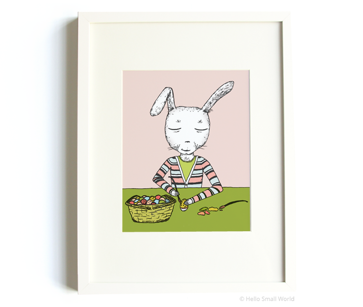 mr rabbit paints eggs 8x10 print