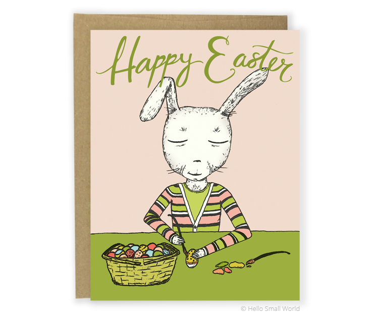 mr rabbit paints happy easter card