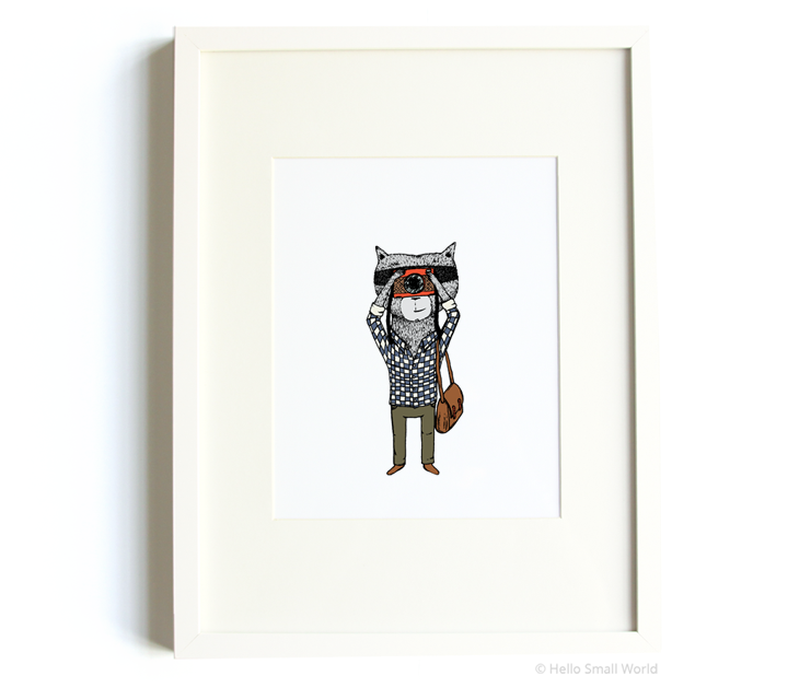 photographer raccoon 8x10 print