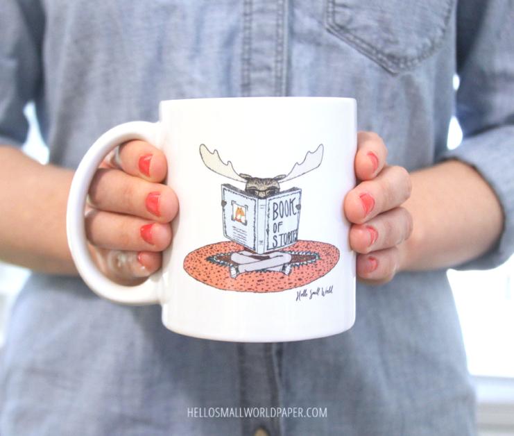 reading moose mug