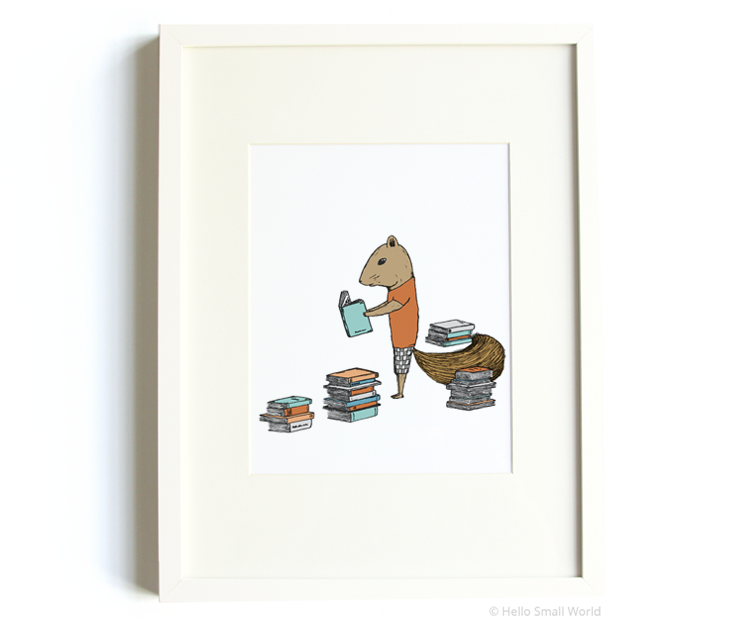 reading squirrel 8x10 print