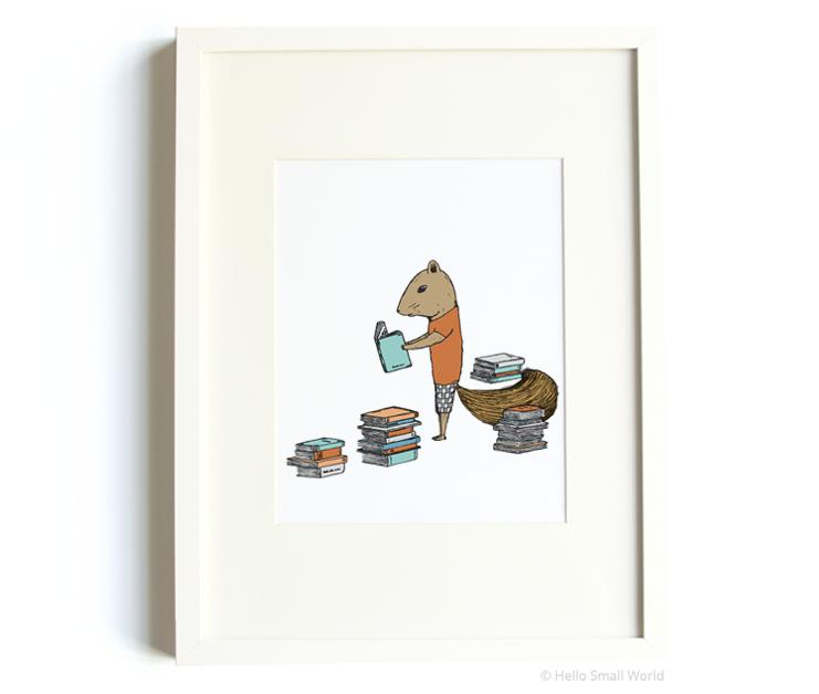 reading squirrel 8x10 print