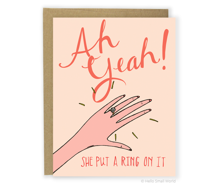 she put a ring on it engagment card