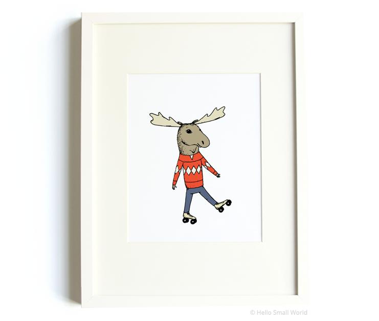 skating moose 8x10 print