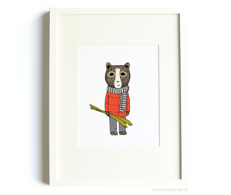 skiing bear 8x10 print