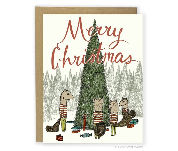 squirrel family christmas card